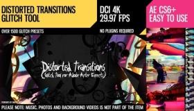 AE模板-信号损坏噪波RGB色彩分离视频扭曲工具包 Distorted Transitions Glitch Tool
