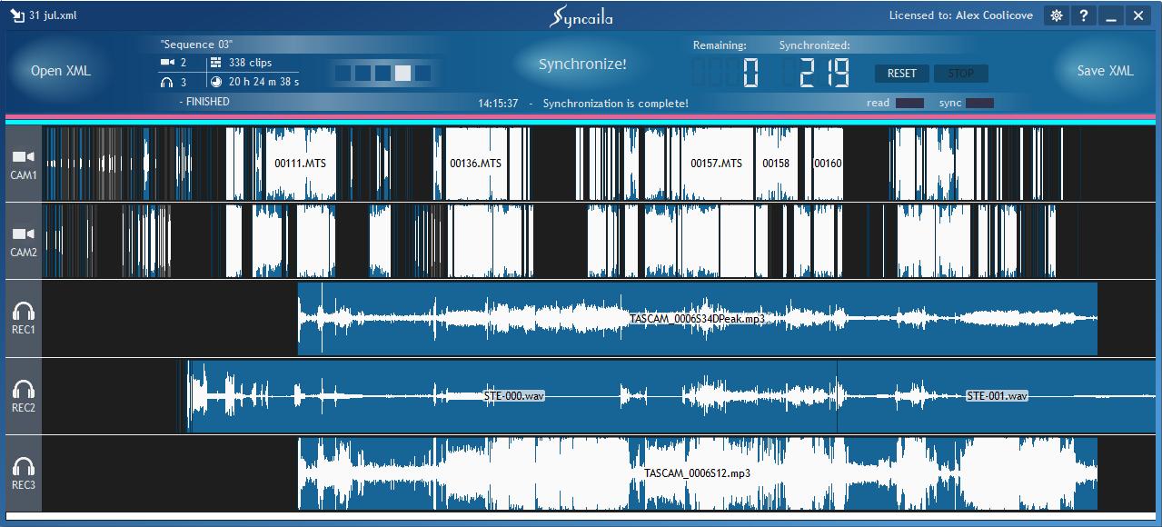 多机位自动视频音频同步工具 Syncaila 2.1.0 Win 中文破解版 软件-第1张